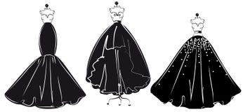 Дизайн платья свадьбы, черно-белый бесплатная иллюстрация