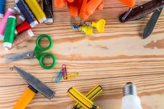 Дизайн плоского стиля положения современный рабочего места работника, комплекта дела Стоковые Фотографии RF