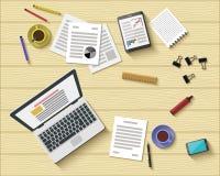 Дизайн плоского стиля современный рабочего места офиса Стоковые Фотографии RF