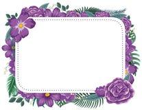 Дизайн рамки с фиолетовыми цветками иллюстрация штока