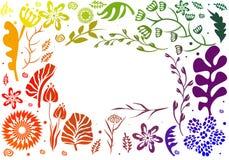 Дизайн рамки цвета радуги сделанный из цветков Стоковые Фотографии RF