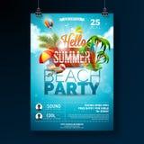 Дизайн рогульки партии пляжа лета вектора с типографскими элементами на деревянной предпосылке текстуры Природа лета флористическ бесплатная иллюстрация