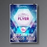 Дизайн рогульки партии пляжа лета вектора с типографскими элементами на абстрактной предпосылке ладони Стоковые Фото