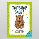 Дизайн рогульки продажи вектора магазина игрушки с плюшевым медвежонком Стоковое Фото