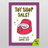 Дизайн рогульки продажи вектора магазина игрушки с розовым горшочком младенца Стоковые Изображения