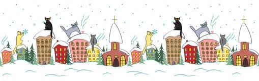 Дизайн рождества шаржа безшовный с котами в силуэтах сидя на верхней части снежинок крыши наблюдая Стоковое фото RF