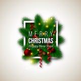 Дизайн рождества, реалистическая белая рамка и текст с тенью, ne бесплатная иллюстрация