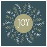 Дизайн рождественской открытки круглый Нарисованная рукой иллюстрация вектора Стоковое Изображение RF