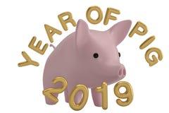Дизайн свиньи на китайский год торжества Нового Года illus свиньи 3D стоковое изображение rf