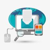 Дизайн связи электронная почта охваывает получать почт иконы открытый Плоская иллюстрация Стоковое Фото