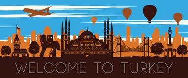 Дизайн силуэта времени захода солнца ориентира Турции известный бесплатная иллюстрация