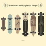 Дизайн скейтборда и longboard Стоковое Изображение