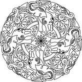 Дизайн слона мандалы Стоковое Изображение