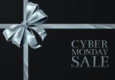 Дизайн смычка ленты серебра продажи понедельника пятницы кибер иллюстрация вектора