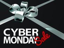 Дизайн смычка подарка ленты серебра продажи понедельника кибер Стоковая Фотография