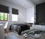 Дизайн спальни, интерьер современного уютного стиля иллюстрация штока