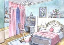 Дизайн спальни картины акварели Стоковое фото RF