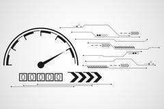 Дизайн спидометра технологии предпосылки вектора абстрактный Стоковая Фотография