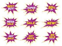Дизайн стикера шаблона значка звезды знамени ценника ярлыка продажи Стоковое Изображение RF