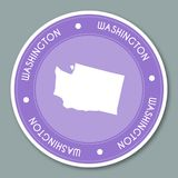 Дизайн стикера ярлыка Вашингтона плоский бесплатная иллюстрация
