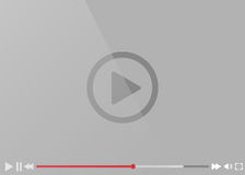 Дизайн стильной иллюстрации видео-плейер покрашенный серым цветом плоский Стоковые Изображения