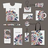 Дизайн стиля корпоративного бизнеса: футболка, ярлыки, Стоковая Фотография RF