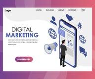 Дизайн страницы посадки цифров выходя на рынок бесплатная иллюстрация