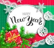 Дизайн счастливого Нового Года яркий иллюстрация штока
