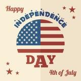 Дизайн счастливого Дня независимости плоский Стоковые Изображения RF