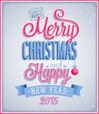 Дизайн с Рождеством Христовым и счастливого Нового Года типографский Стоковое фото RF