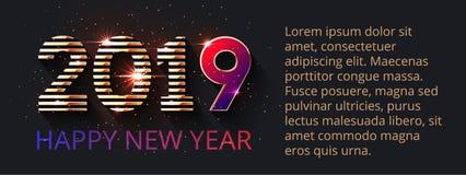 дизайн 2019 текстов и помечать буквами счастливый Новый Год иллюстрация вектора