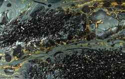 Дизайн текстуры золота мраморизуя Голубая и золотая мраморная картина Жидкое искусство стоковые фотографии rf
