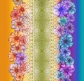 Дизайн текстуры картины цветка на безшовной ткани, ткани, backgrou Стоковые Фото