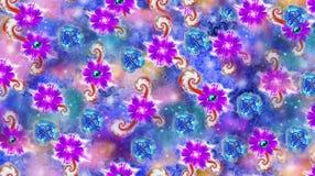 Дизайн текстуры картины цветка на безшовной ткани, ткани, backgrou Стоковое Изображение