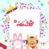 Дизайн торжества плоский, партия, праздник мультфильма животных масленицы иллюстрация вектора