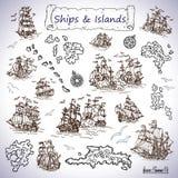 Дизайн установил с старыми парусными суднами, островами сокровища, компасами бесплатная иллюстрация