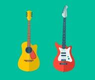 Дизайн установленный гитарами плоский стоковая фотография rf