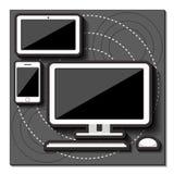 Дизайн установленный устройствами плоский вектор Иллюстрация вектора