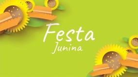 Дизайн фестиваля Festa Junina на бумажном искусстве и плоский стиль с простыми мексиканской шляпой и солнцецветом для концепции з бесплатная иллюстрация