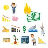 Дизайн финансов банковского дела экономики проблемы концепции символов кризиса Стоковая Фотография RF