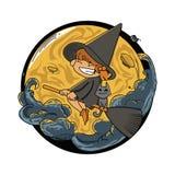 Дизайн футболки ведьмы хеллоуина Стоковые Изображения RF