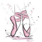 Дизайн футболки Современный стиль моды на белой предпосылке с ботинками pointes иллюстрация вектора