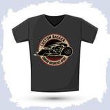 Дизайн футболки значка мотоцикла Bagger графический Стоковая Фотография