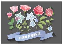 Дизайн флористических элементов материальный Цветки и листья цветения Комплект ботаники бесплатная иллюстрация