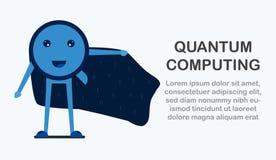 Дизайн характера в концепции квантового вычисления Illustr вектора Стоковые Изображения