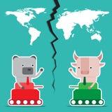 Дизайн характера и концепция дела Иллюстрация быка против b Стоковая Фотография
