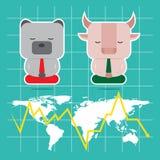 Дизайн характера и концепция дела Иллюстрация быка против b Стоковое Фото