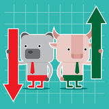 Дизайн характера и концепция дела Иллюстрация быка против b Стоковая Фотография RF
