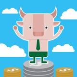 Дизайн характера и концепция дела Иллюстрация быка stan Стоковые Изображения RF