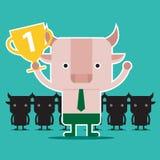 Дизайн характера и концепция дела Иллюстрация succ быка Стоковая Фотография